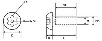 Button Head Interscrew Security TX Pin