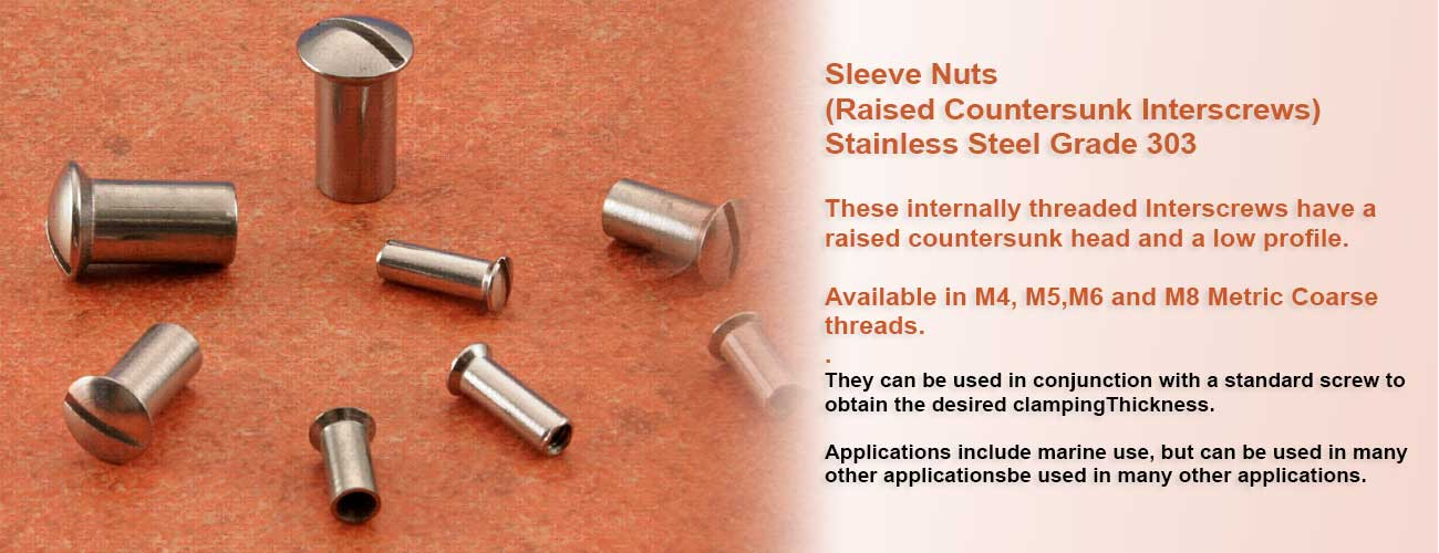 Available in M4, M5,M6 and M8 Metric Coarse threads.